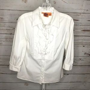 Tory Burch white button front blouse size 6
